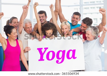 The word yoga and excited people holding blank billboard at gym against white wave design - stock photo