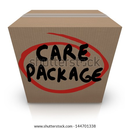 The words Care Package on a cardboard box to illustrate support, aid, assistance and emergency supplies for a victim of a crisis - stock photo