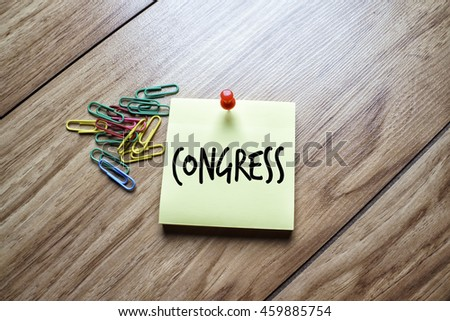 The words Congress written on a sticky note  - stock photo