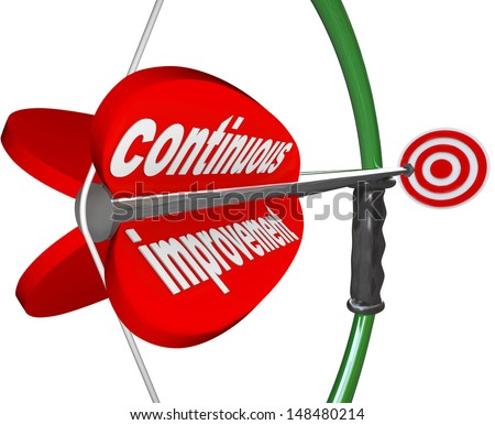 The words Continuous Improvement on an arrow airmed by a bow at a target to illustrate constant increase in quality, skill, knowledge or success - stock photo