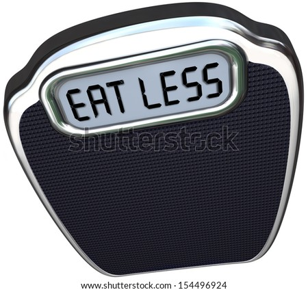 The words Eat Less on the display of a scale to illustrate losing weight on a diet by eating fewer calories and fatty foods - stock photo