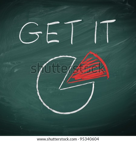 The words Get it showing an cake or pie diagram handwritten in chalk son a chalkboard with a red piece of cake - stock photo