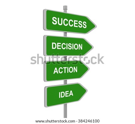 The words Idea,Action,Decision Success on colorful road signs pointing, concept steps for success, 3d illustration - stock photo