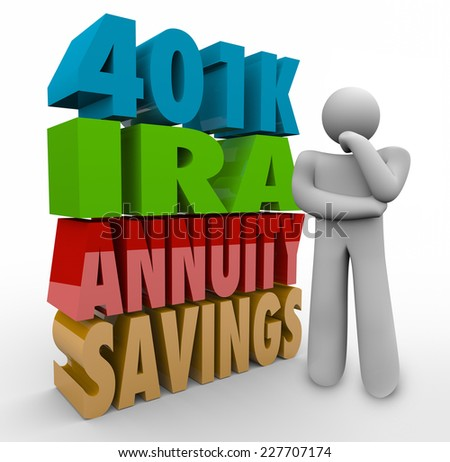 The words 401K, IRA, Annuity, Savings in 3d letters beside a thinking person confused over what is the best investment option to manage retirement finances and income - stock photo