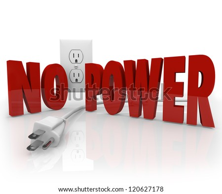 The words No Power in red letters in front of an electrical outlet and an unplugged cord to symbolize an electricity outage or energy failure - stock photo