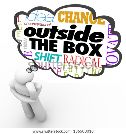 The words Outside the Box above the head of a thinking person in a thought cloud, along with the terms idea, unconventional, new, shift, change, innovative and creativity - stock photo
