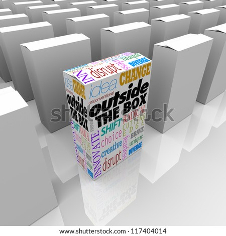 The words Outside the Box on one product package on a store shelf standing out from the competition - stock photo