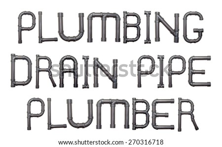 The words plumbing, drain, pipe and plumber constructed out of PVC pipe. - stock photo