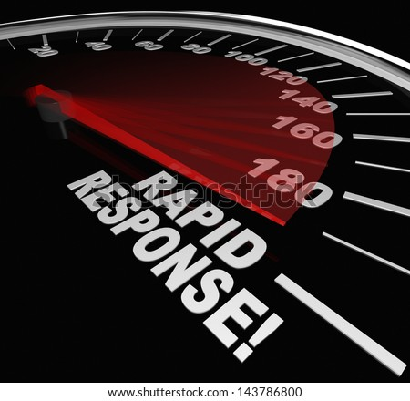 The words Rapid Response on a speedometer with needle racing to illustrate fast service and arrival of help and assistance in a crisis - stock photo
