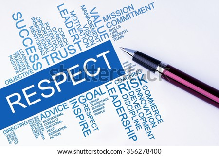 The words Respect text cloud with a pen on isolated white background. Business concept text cloud. - stock photo