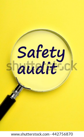 The words Safety audit on yellow background - stock photo