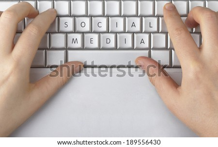 "The words ""social media"" spelled out on a computer keyboard - stock photo"