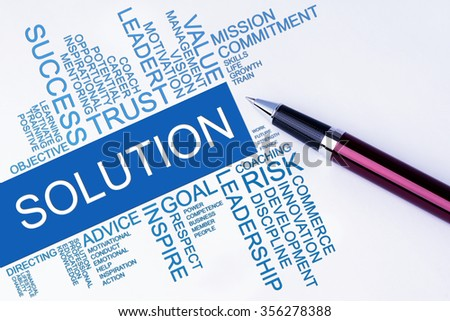 The words Solution text cloud with a pen on isolated white background. Business concept text cloud. - stock photo