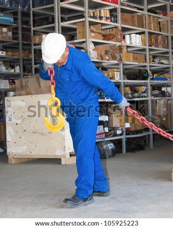 the worker works at a warehouse