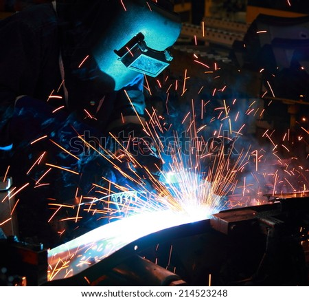 The working in Welding skill up - stock photo