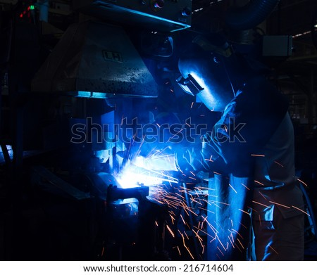 The working in Welding skill up. (Manufacturing of car) - stock photo