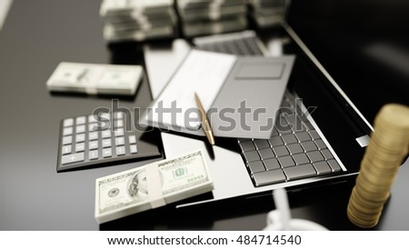 The workplace of business people. Laptop and money. business concept. 3D rendering.
