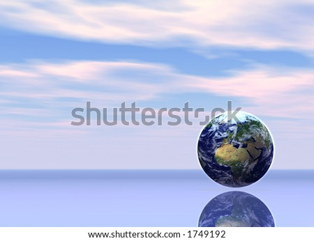The world at dawn heralding a new beginning - stock photo