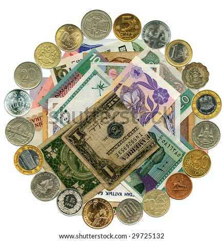 The world banknotes and coins in motion. Financial wheel.