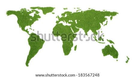 The world card consisting of a green grass - stock photo