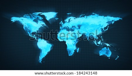 The world digital map. blue - stock photo