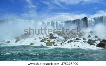 The world famous Niagara Falls. The power of tons of falling water - stock photo