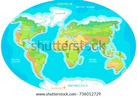 World geographical map names continents oceans stock illustration the world geographical map names of continents oceans north and south america gumiabroncs Gallery