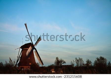 The world Heritage Kinderdijk windmill landscape at Kinderdijk, the Netherlands. - stock photo