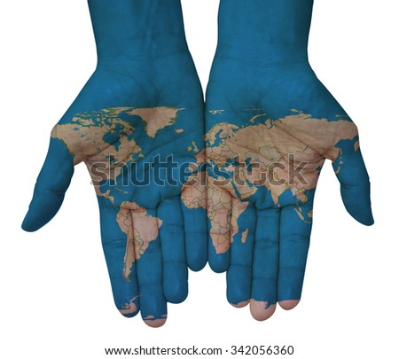 The world in your hand. Hands with world map - stock photo