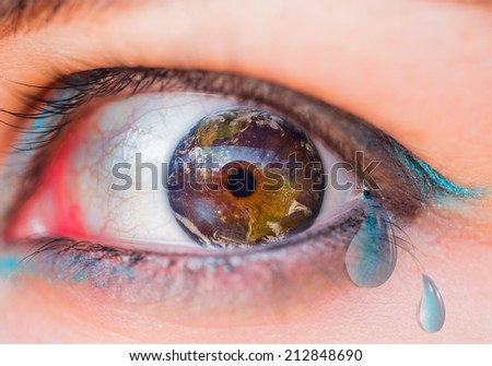 """the world is crying """"Elements of this image furnished by NASA """"  - stock photo"""