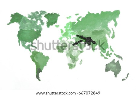 World map made colored watercolor paints stock illustration the world map is made with colored watercolor paints on white paper with the participation of gumiabroncs Choice Image