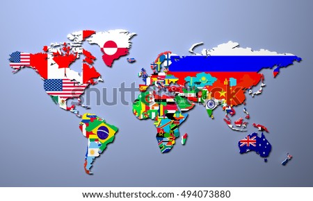 World map all states their flags ilustracin de stock494073880 the world map with all states and their flags 3d illustration gumiabroncs Image collections