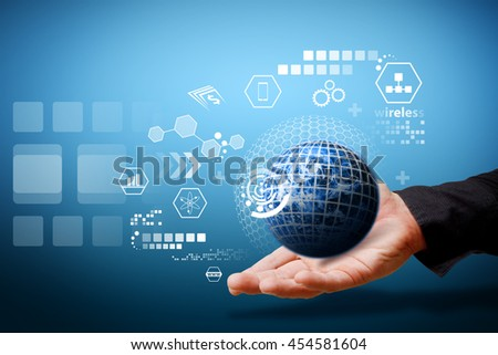The world of data base Technology background : Elements of this image furnished by NASA - stock photo