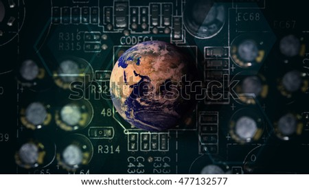 The world of technology background : Elements of this image furnished by NASA