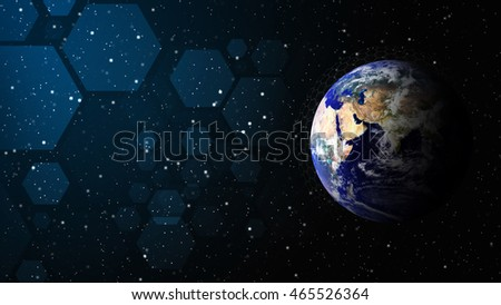 The world of technology background : Elements of this image furnished by NASA Earth background and polygon : Elements of this image furnished by NASA
