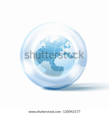 the world or our planet earth inside a glass sphere