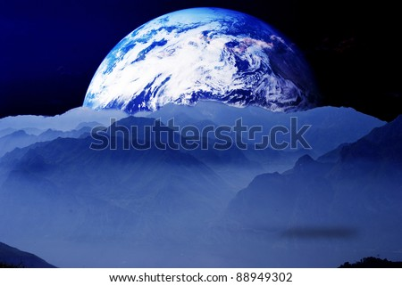 the World with mountains - stock photo