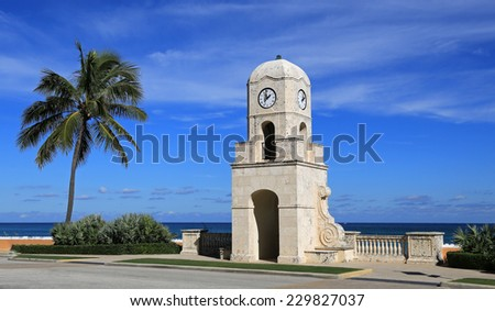 The Worth Avenue Clock Tower on Palm Beach, on the Old Ocean Boulevard, and entrance to the beach and Atlantic Ocean