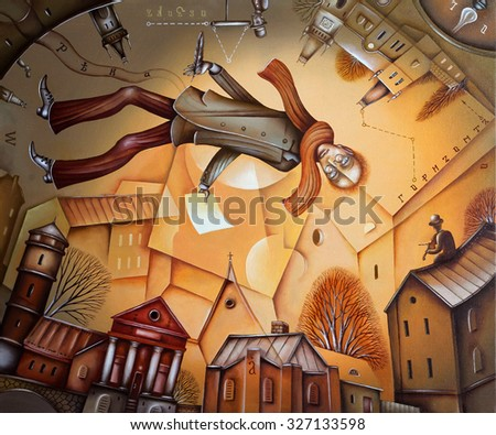The writer during the moment of creative inspiration - stock photo