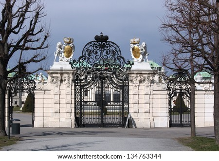 The wrought iron gate of the Belvedere Palace in Vienna, in winter