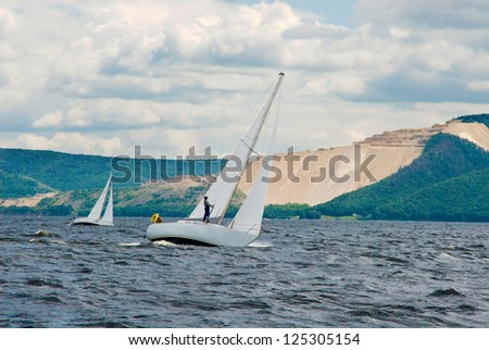 The yacht participating in the regatta - stock photo