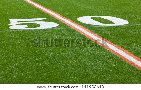 The 50 yard line of an American football field