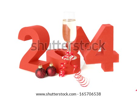 The year 2014, celebrating new year with champagne! - stock photo