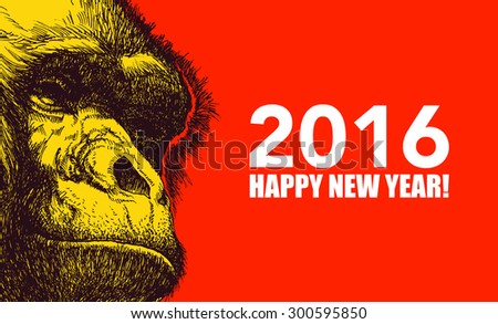The year of monkey. Chinese new year 2016. Monkey year. JPEG version. - stock photo