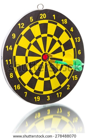 The yellow and green darts hitting the target in a game of darts scoring a bulls eye.   Isolated on white background	 - stock photo