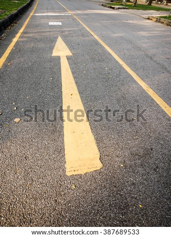 the yellow arrow on the road of park
