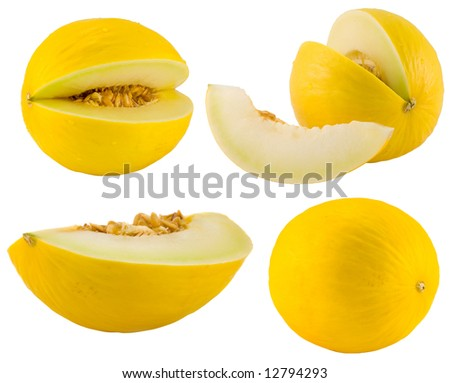 the yellow melons collection isolated on white background
