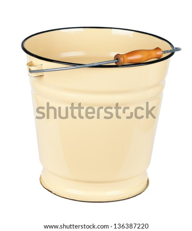 The yellow metal enamel bucket, isolated on white background - stock photo