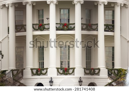 The Yellow Oval Room from South Lawn, White House, USA - stock photo