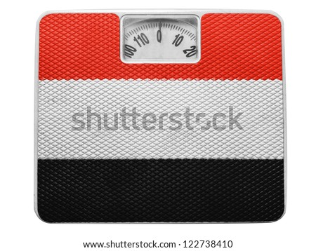 The Yemeni flag painted on balance